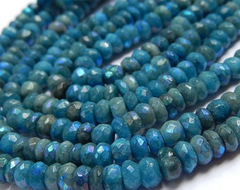 Chrysocolla  Gemstone. Faceted Rondelle 4.5 to   5.5mm  AB Finish.  Semi Precious Gemstone. Strand Your Choice. (fchr)