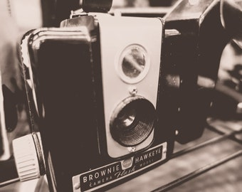 Vintage Kodak Brownie Hawkeye Camera Fine Art Print - Vintage, Nostalgic, Photography, Gift, Photographer, Lens, Shutter, Film, Retro, USA