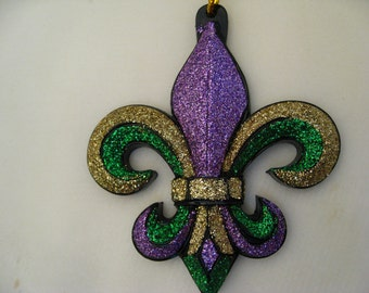 Mardi Gras Ornament  Glittery Fleur de Lis New Orleans  Ornament  travel tree with Free pouch