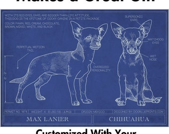 Chihuahua Blueprint with Personalized Dog Name - Makes a Great Gift