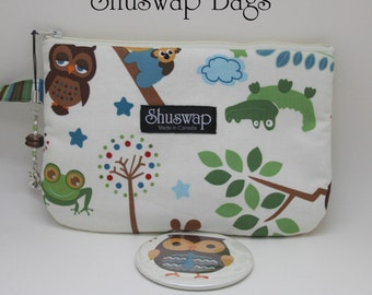 Owls Frogs and other creatures Wristlet and Mirror Set
