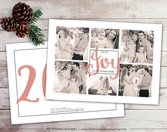 Custom Photo Christmas Card - Holiday Photo Card - Photo Collage - New Years Photo Card - Peach Holiday Card - Personalized - WH210