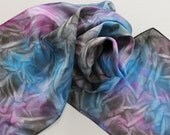 SALE Hand Painted Silk Scarf - Handpainted Scarves Black Royal Blue Sapphire Gray Grey Charcoal Magenta Hot Pink Magenta