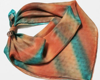 Hand Painted Silk Square Scarf - Hand Dyed Bandana Southwest Burnt Orange Rust Peach Chocolate Brown Teal Turquoise