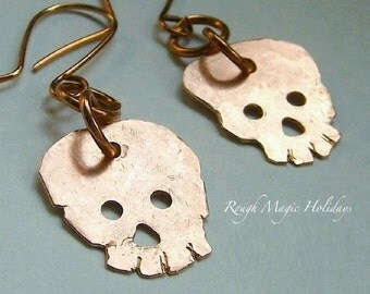 Halloween Earrings. Copper Skull Dangles. Rustic Primitive Hammered Metal. Spooky Twins Skully & Skelly. October Trends. Costume Jewelry