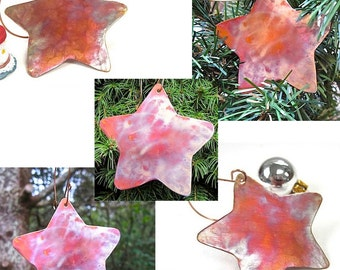 Set of 5 Christmas Tree Ornaments, Rustic Copper Stars, Cottage Chic Holiday Decorations, Advent Star Ornament
