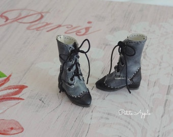 ASH - Lace up Boots for Blythe dolls OOAK Victorian Goth, 1/6 BjD dolls, 3cm feet, Azone pure neemo body S and XS