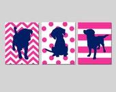 Hot Pink Navy Blue Puppy Dog Nursery Art Trio - Set of Three 8x10 Prints - Kids Wall Art - Chevron, Polka Dots, Stripes - CHOOSE YOUR COLORS