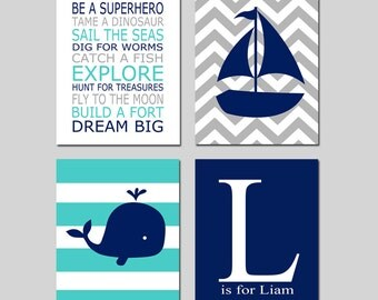 Hamptons WHALE Nautical Nursery Art - Chevron Sailboat, Stripes, Custom Initial Name, PLAYROOM RULES Quote - Boy Nursery Decor - Set of 4