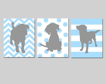 Puppy Dog Nursery Art Trio - Set of Three 8x10 Prints - Kids Wall Art - Chevron, Polka Dots, Stripes - CHOOSE YOUR COLORS