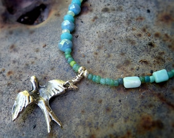 Silver Swallow gemstone beaded necklace - bird jewelry amazonite gemstone pendant