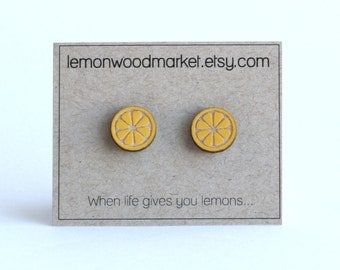 Lemon earrings - Spring earrings - alder laser cut wood earrings
