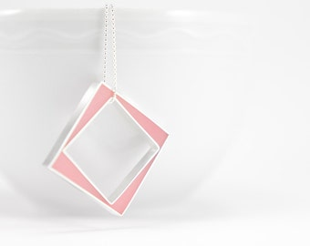 Panic Necklace made to order pink sterling silver and resin square