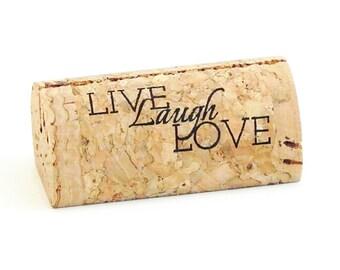 "Custom Printed Wine Cork Place Card Holders - ""Live Laugh Love"""