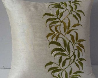 Olive green tropical pillow. Tropical  embroidered   ivory pillow. Garden theam cushion. Decorative cushion cover  18x18 inches
