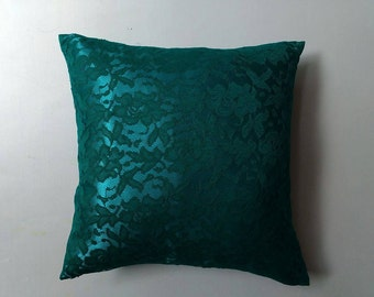 teal blue lace pillow. Decorative pillow.  Lace  pillow.   18x18 inches. throw pillow custom made