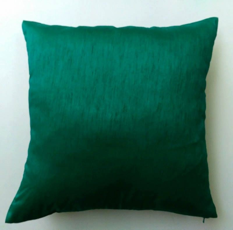 Jade green art silk pillow. throw pillow. silk decorative