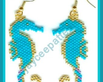 Bead Pattern - Seahorse Earrings - Advanced brick stitch