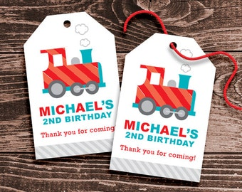 Personalized Train Party Favor Tags - DIY Printable - Hang Tags (Digital File)