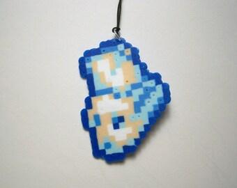 mini perler bun bun keychain