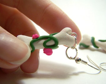 bone rose polymer clay dangle earrings