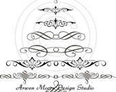 Beautiful Vintage Victorian Shabby Style Chic Black and White Swirly Christmas Tree Water Slide Waterslide Decals Miniature vh-23