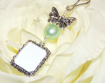 Wedding bouquet photo charm with Butterfly and mint green pearl. Bridal bouquet Photo charm with silver tone butterfly. Gift for a bride