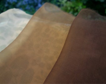 "Organza Silk Fabric 3 Pieces Walnut Dye Sheer Silk Fabric Supply Natural Plant Dye 12""x 24"" Art Fabric Earth Tone Light Medium Dark Brown"
