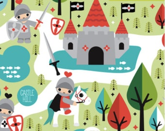 Knight Sword And Castle Pattern Fabric By Little Smile Makers - Castle Fabric with Spoonflower - By the Yard