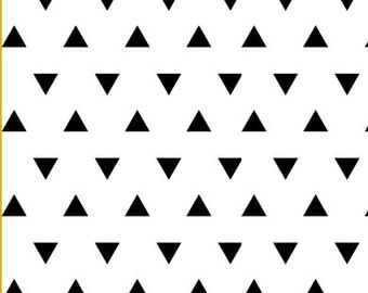Triangle Fabric - Triangles Black and White Fabric By Little Arrow Design - Triangle Fabric with Spoonflower - by the yard