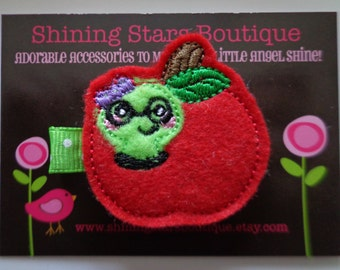 Felt Hair Clips - Embroidered Felt Red Apple Fruit Hair Clippie With A Lime Green Nerdy Bookworm For Girls - Back To School Geeky Clip