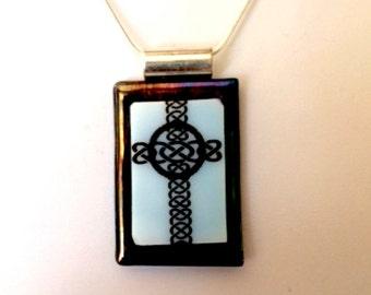 Celtic Cross Fused Glass Pendant  Necklace