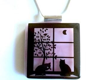 Window Watchers- Fused Glass Kitty Pendant w/ Silver Chain