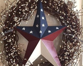 Americana metal flag star wreath
