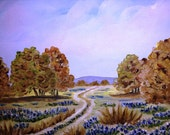 Original 8 x 10 Texas BLUEBONNETS and LIVE OAKS Hill Country Painting Unframed