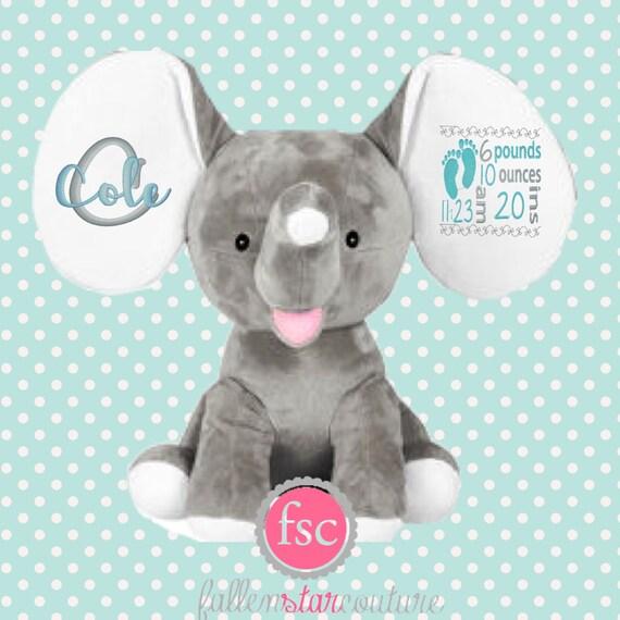 Personalized Baby Gift Elephant Stuffed Animal Birth
