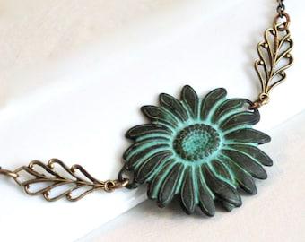 Patina Sunflower Necklace - Floral Jewelry, Flower Necklace, Nature Jewelry, Garden Jewelry, Leaf Necklace, Verdigris Jewelry