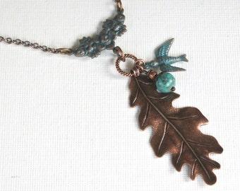 Copper Leaf Necklace - Bird Necklace, Leaf Jewelry, Nature Jewelry, Patina Jewelry