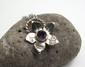 Rose Cut Amethyst Sterling Silver Flower Pendant on Chain - Sterling Silver Gemstone Pendant - Everyday Necklace - Flower Pendant - N-013
