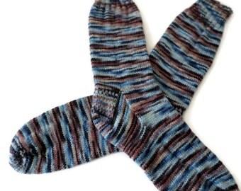 Socks - Hand Knit Men's Blue and Brown Socks - Size 11-12 - Casual Socks - Weekend Socks