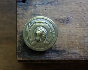 Antique Brass Bridle Button, Vintage Equestrian Tack, Rustic Patina, Horse Bridle Button, Horseshoe Rosette