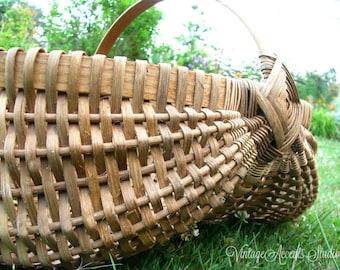 Vintage Woven Buttocks Basket   God's Eye   Handmade Signed   Large Gathering Market Basket With Handle   Primitive Farmhouse Decor
