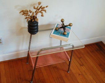 Industrial Aluminum Plexiglass Side Table