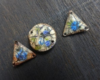 Crushed Bouquets- rustic polymer clay connectors- set of three (3) with blue rose decals and crackle. Handmade artisan art beads