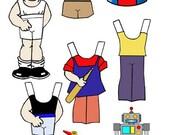 little boy paper doll digital download clothes toys set clip art collage sheet graphics childrens craft printables