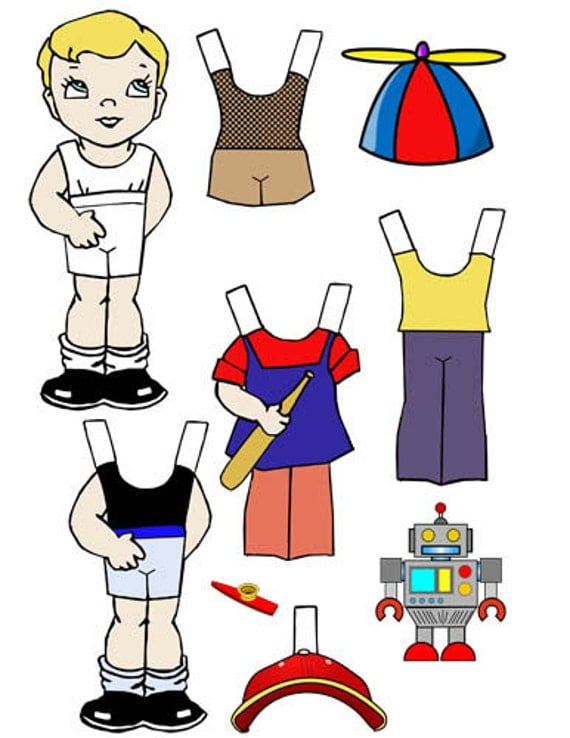 little boy paper doll printable digital paperdolls paper doll printing childrens craft printables clip art paper doll clothes kids gift