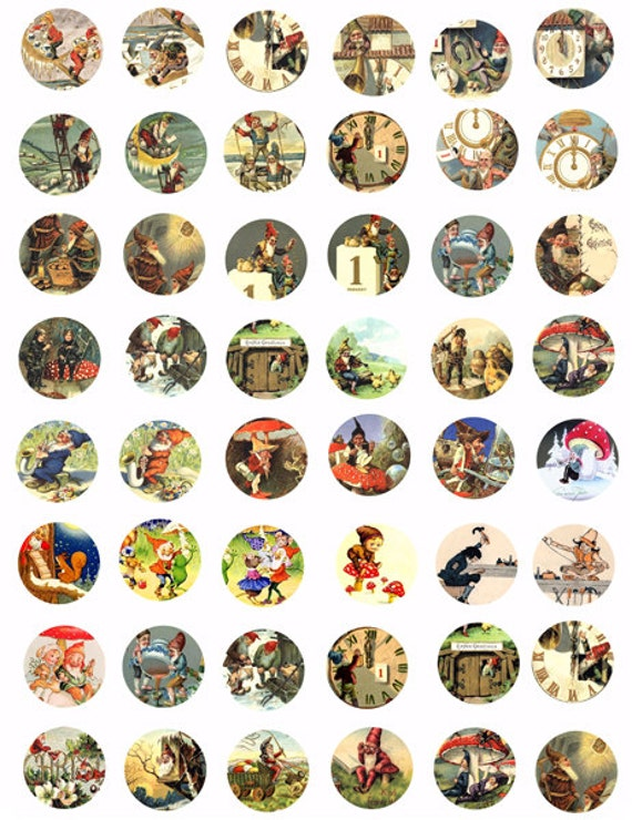 gnomes elves elf digital collages sheet download 1 inch circles  fantasy fairy tale printable for pendant magnets pins