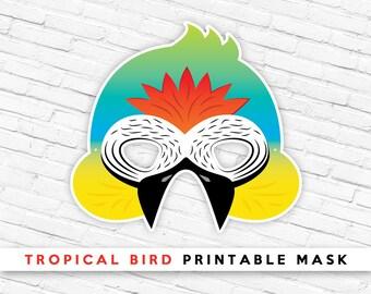 Tropical Bird Mask | Macaw Mask | Jungle Bird Printable Mask