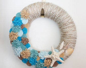Summer Beach Wreath, Seashell Wreath, Aqua and Tan Ocean Colors, Yarn and Felt Wreath, 12 inch size - READY TO SHIP