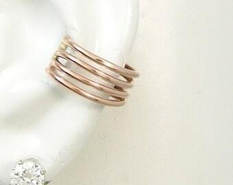 Ear Cuff, PINK Rose Gold Earcuff, Non-pierced, Cartilage Wrap Earring, Fake Conch, No Piercing Cuff, Faux Pierced Hoop, 4 Strand ERW4STRGF